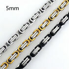 MEN 5mm Silver/Gold/Black Tone 316L Stainless Steel Byzantine Box Chain Necklace