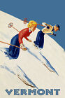 Couple Ski Skiing Vermont American Winter Sport Vintage Poster Repro FREE S/H