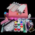 36W Acrylic UV Gel Pink Lamps 12 Colors Nail Art Sets Cutter False Tips Kits
