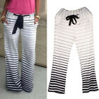 Fashion Women's Stripe Casual Stretch Pants Wide Leg Long Loose Trousers NEW
