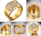 High Quality Gold Plated Stainless steel Women Men Band Ring With Crystals Drill