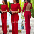 Sexy Womens Elegant Backless Jumpsuit Long Formal Party Playsuit Romper Trouser