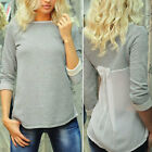 Sexy Womens Ladies Patchwork Long Sleeve Loose T-Shirt Blouse Casual Top Tee