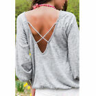 Women's Long Sleeve Backless Tee T-shirt Loose Blouse Casual Clubwear Tops Shirt