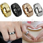 Hot 8MM Men Steel Stainless Smooth Band Wedding Ring 3 Colors New