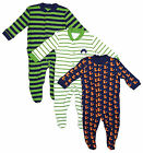 Baby Boys Pack of 3 Sleepsuits with Feet Hedgehog Fox Motif Newborn to 24 Months
