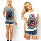 Women Lady Eyes Print Crew Neck Short Sleeve Loose T-shirts Pullover Blouse Tops