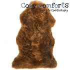 Brown Genuine Large Sheepskin Rug with Extra Thick Wool / British Made