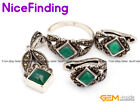 Green Agate Fashion Jewerly Earrings Ring Pendant Set Tibetan Silver Marcasite