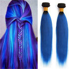 "7A Blue ombre Brazilian Remy Straight Human Hair Extensions Weave 10""-30""1b/blue"