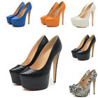 Ladies Platform Stilettos High Heels Snakeskin Wedding Dress Pointed Toe Shoes