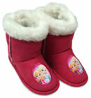 Girls Disney Frozen Anna Elsa Fur Trim Slipper Boots UK Child Sizes 6 to 13