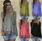 Womens Fashion Long Sleeve Shirt Casual Lace Blouse Loose Cotton Tops T Shirt