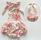 Baby Girl Floral Romper Dress Lace Ruffle Halter Backless Bodysuit Party Clothes