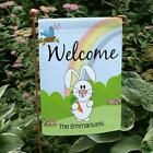 Personalized Easter Bunny Garden Flag Easter Bunny Welcome Banner Yard Decor
