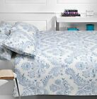 SPENDOUR DAMASK LUXURY FLORAL DUVET COVER QUILT SET BLUE ALL SIZES