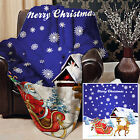SANTAS SLEIGH BLUE DESIGN SOFT FLEECE BLANKET COVER THROW OVER SOFA BED BLANKET