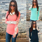 Sexy Womens Summer Lace Sleeve T Shirt Crew Tops Fashion Ladies Shirt Blouse UK