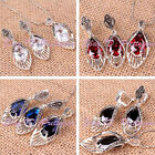 10x14mm Faceted Oval CZ Crystal Vintage Tibetan Silver Earrings Pendant 1 Set