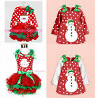 Baby Girls Kids Clothing Christmas Party Red Santa Long Sleeve Tutu Dresses gift