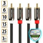 FosPower 3 6 10 15 25 FT Gold Plated 2 RCA to RCA Male L/R Audio Cable Cord Plug