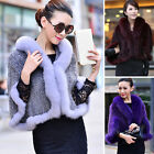 Winter 100% Real Farm Mink Fur Fox Fur Poncho Stole Cape Scarf Shawl Coat Warm
