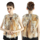 Great Quality Women's Genuine Farms Red Fox Fur Vest Sleeveless Gilet Waistcoat