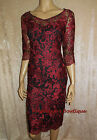 PER UNA RED/BLACK FLORAL LACE MESH EMBROIDERED PARTY DRESS SZ 8 10 12 14 22 NEW