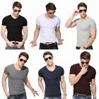 Fashion 2015 V Neck Cotton Casual Short Sleeve Top New Mens Slim T Shirt Plain