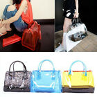 New Women's Clear Transparent Bucket Bag PVC 2in1 Handbags Cosmetic Bags Purses