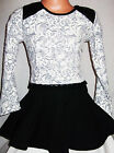 GIRLS BLACK & GREY FLORAL QUILTED LEATHERETTE TRIM RUFFLE SKATER PARTY DRESS