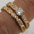 2in1 Size 7 8 9 10 Hot White CZ Jewelry Rose Gold Filled Wedding Ring Sets R2257