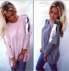 Fashion Womens Loose Long Sleeve Cotton Tops Shirt Casual Blouse T-shirt New