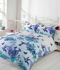 HUMMINGBIRD FLORAL BIRD DUVET COVERS POLYCOTTON QUILT SETS BLUE