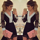 Women Sexy Lace V-Neck Casual Long Sleeve Party Cocktail Evening Mini Dress New
