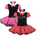 Christmas Party Ballet Tutu Fancy Dress Girls Kids Minnie Mouse Costume+Headban