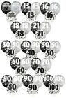 "BLACK/SILVER GLITZ - Pack of 6 x 12"" Pearlised Latex Balloons (Birthday Party)"