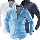 New Style Mens Contrast Collar Dot Long Sleeve Formal Dress Shirts 3 Color 4Size