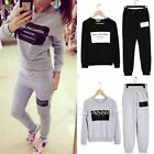 Letter Print Women Athletic Sports Hoodies Coat+Pants 2pcs Sweat Suit Tracksuit