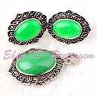 Oval Green Jade Marcasite Tibetan Silver Classical Lady Party Pendant Earrring