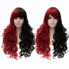 Lady Red And Black Neat/Oblique Bangs Long Curly Full Wigs Synthetic Hair