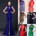 Great Quality Lace Long Slit Evening Party Cocktail Gowns Bridesmaid Prom Dress