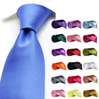 Mens Classic Slim Skinny Solid Color Plain Satin Tie Necktie -Wedding/Party/Prom