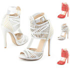 Milan ladies heels platform cut out open toe dress sandals ankle buckle shoes AU