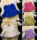 Ladies Fancy Real Rex Rabbit Fur Coat Jacket Outwear  Garment Winter Warm Cool