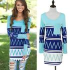 Women Lady Loose Casual Blouse T Shirt Tee Contrast Striped long Sleeve Top HZ1P
