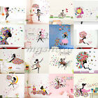 Girl Flowers Removable Wall Art Stickers Vinyl Decal DIY Room Home Mural Decor