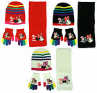 Girls Disney Minnie Mouse Stripe Hat Scarf & Gloves Gift Box Set 3 to 12 Years