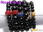 """6mm 8mm 10mm 12mm 14mm Natural Round Onyx Black Agate Bracelet Jewelry 7 1/2"""""""