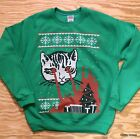 CAT LASER EYES Ugly Christmas Sweatshirt Sweater Holiday Funny Kitten